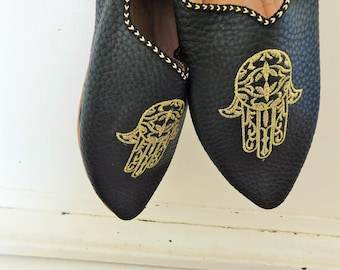 Hand of Fatima, Hasma, Leather Slippers, Moroccan  Babouche, Slip on Shoes