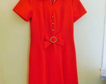 1960's, MOD, Persimmon, Polyester Crepe, Dress, Women's Size Small/Medium