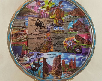 Colorado Souvenir Tray ~ Tin ~ Round ~ Aspen ~ Pikes Peak ~ North Pole ~1970 ~ Decorative Tray ~ Serving Tray ~ Penny Lane Treasures