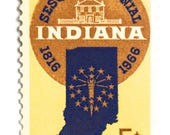 10 Unused Indiana Vintage Postage Stamps // 1960s Vintage 5 Cent Indiana Stamps for Mailing
