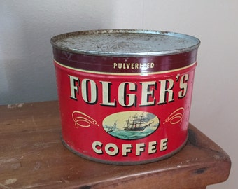 Unopened Folger's Coffee Tin, Vintage 1 lb metal Can with Key,  1946 Grocery Advertising Red White Farmhouse Cottage Kitchen