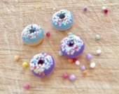 Blue or Lilac (purple) iced donut stud earrings - with sprinkles - Kawaii kitsch - food jewellery - Blue donut studs - purple donut studs