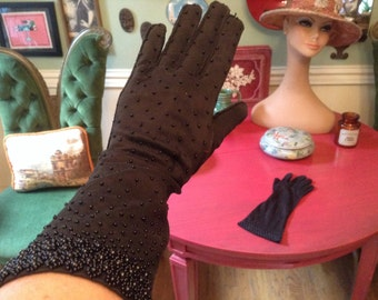 Reserved for Linnea 1950s Vintage Black Beaded Gloves Sz 6.5 Length 13 in Made Hong Kong