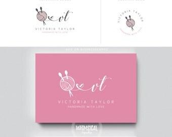 KNITTING LOGO 1 branding  initials businesscards  simple modern feminine branding- logo Identity for Handmade products store etsy store yarn