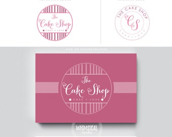Cake shop logo , elegant emblem soft pastel look homemade bakery branding feminine design swirly initial circle logo shop sign design