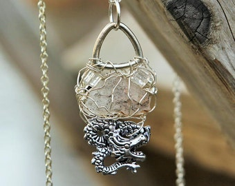 Dragon, MUSKOKA STONE wire wrapped pendant is made with sterling silver wire, resin and pewter beads.