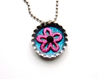 NEW Flower Glitter - Bottle Cap Necklace