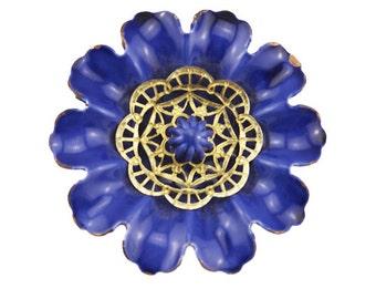 Vintage Enamel Flower Brooch, Blue Enamel Flower Brooch, Blue Flower Brooch, Blue and Gold Enamel Flower Brooch