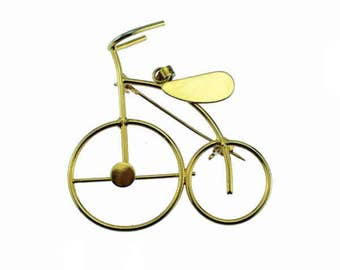 Gold Bike Brooch, Gold Bike Pin, Gold Bicycle Brooch. Gold Bicycle Pin, Gold Bike Pendant, Gold Bicycle Pendant