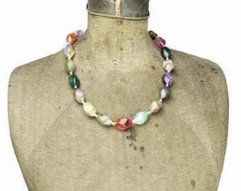 Vintage Long Rainbow Bead Necklace, Colorful Bead Necklace, Vintage Lucite Pastel Bead Necklace