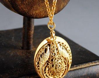 Vintage Mezuzah Filigree Necklace