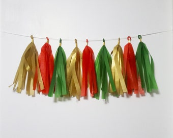 Christmas Tassel Garland, Tissue Paper Garland, Fully Assembled not DIY, Tissue Tassel Christmas Party Decor, Chair Decor, Wedding Decor