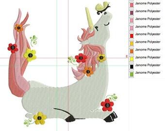 Unicorn embroidery design, 2 sizes