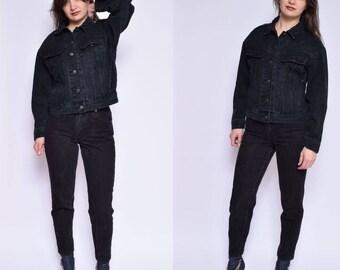 Vintage 90's Black Denim Jacket / Cropped Black Denim Jacket / Trucker's Denim Jacket / Classic Black Jacket - Size Small