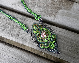 Green Leaf Soutache Pendant