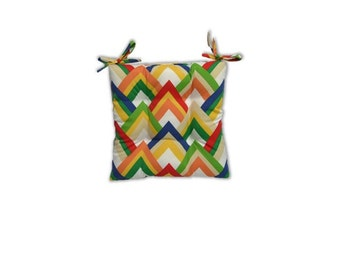 Ivory, Yellow, Green, Red, Orange, and White Chevron -- Tufted Seat Cushion w/Ties for Kitchen Dining Chair ~ Select Size