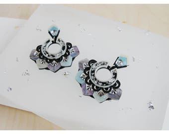 Zigzag Statement Earrings: Silver & Mother-of-Pearl. Laser Cut Stud Drop Earrings. Mirror Frost Acrylic Perspex Deco Geometric Scallop Hoops