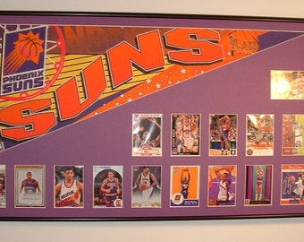 Phoenix Suns Basketball Pennant & Cards Retrospective...Custom Framed