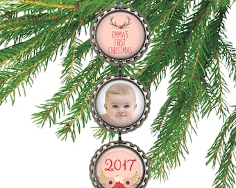 Personalized baby girl's first Christmas ornament pink photo ornament custom new parent gift. PINK ANTLERS BABY