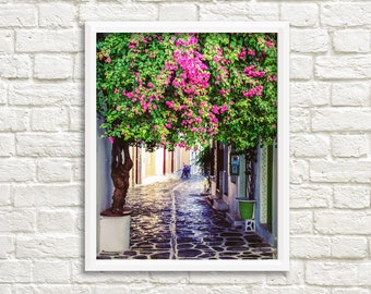 Greek wall art, photography digital download, printable photography, Paros Greece pictures, fine art photography, travel print, pink flowers