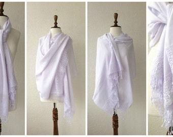 White Wedding Shawl, Pashmina with French Lace, White Pashmina, Bridal Shawl
