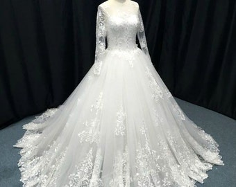 Custom Made Queen Style Long Sleeve Lace Applique Ball Gown , L'Amei lace wedding dress for 2017
