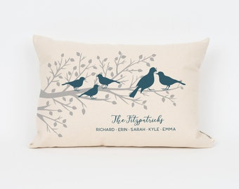 Custom Family Member Pillow, Bird Pillow, Gift for Grandparents, Wedding Gift for Mother in Law, New Home Gift, Throw Pillow, Mother's Day