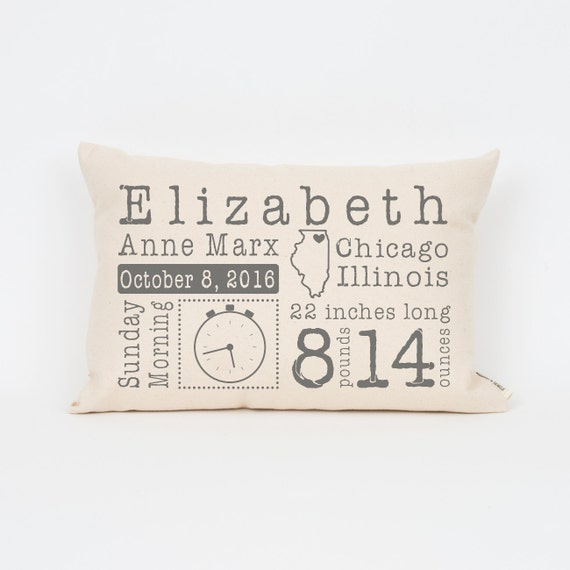 Unique baby gift baby stats pillow custom baby pillow new like this item negle Choice Image