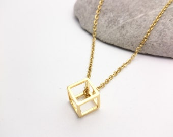 Gold cube geometric Necklace stainless steel chain//Gold plated 24 k brass cube pendant 3D minimal geometric necklace//Small cube necklace