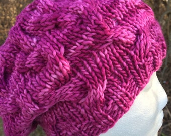 Women's Slouchy Cabled Hand Dyed Merino Wool Hat - Beret, Beanie, Pink, Purple, Hollyhock, Fluffy, Light, Warm, Handmade, Knitted