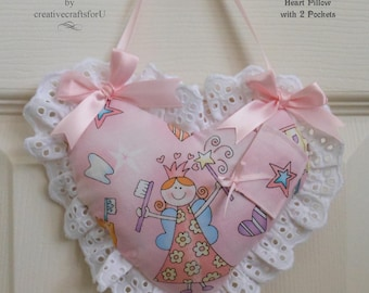 Tooth Fairy Pillow, Heart Pillow, Hanging Pillow, 2 Pockets, Cute Tooth Fairy Fabric, Pink, Eyelet Embroidery, Handmade,  Girls Gift