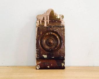 Vintage Architectural Salvage Bullseye Door Trim Corner Block