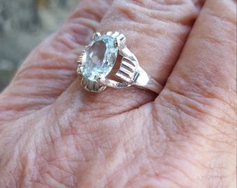 aquamarine ring size 6 1/2 1970's 2.5ct GENUINE NATURAL aquamarine art deco engagement or right hand estate vintage sterling ring