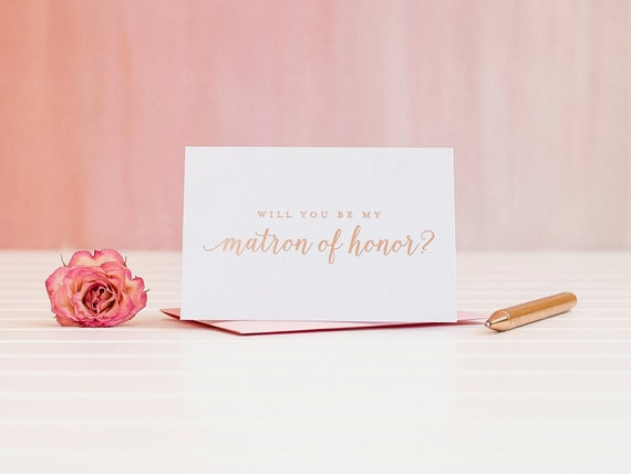 Will You Be My Matron of Honor card in Rose Gold Foil bridal party card ask bridesmaid card wedding bridal party maid invitation box gift