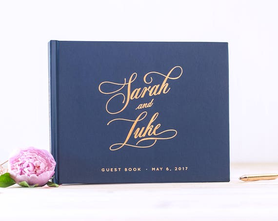 Wedding Guest Book Rose Gold Foil Navy wedding guestbook landscape horizontal wedding album photo guest book personalized planner sign in