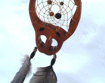 "DreamCatcher Aboriginal, Native Dreamcatcher, Native American spirituality, the imprint of the caribou, l ""Gary dreams, duck feathers"