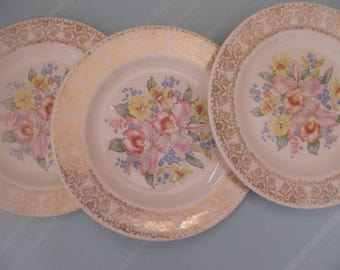 1934-1986 Royal China Inc. 3 Dinner Plates Orchids Dalton Pattern Warranted 22 KT  Pink Orchids Yellow Flowers Forget-Me-Nots Dinner Table
