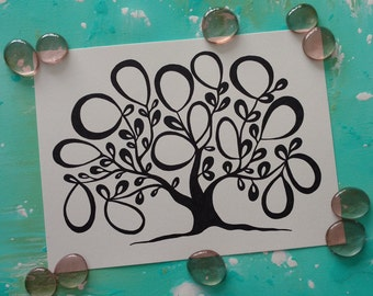 """PRINT Wedding / Engagement / Baby Shower Guest Book Alternative Tree of Life / 14 Signatures / Size 9""""X12"""""""