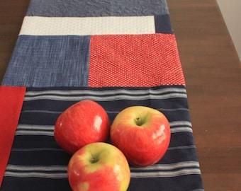 sam + finn UPCYCLED red, white & blue holiday Table Runner