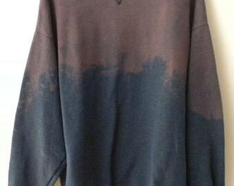 Sweatshirt, Blue Sweatshirt, Crewneck, acid wash sweatshirt, dip dye sweatshirt, XLarge Sweatshirt, Crewneck sweatshirt, grunge sweatshirt