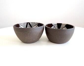 Black and white geometric stoneware bowl, small size