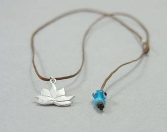 Lotus necklace, sterling silver flower charm, yoga jewellery, ohm necklace, layering, handmade, zen spiritual necklace