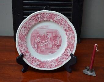Betsy Ross Plate Red Transferware Plate Homer Laughlin Historical America Betsy Ross Commemerative Plate  I Ship Internationally
