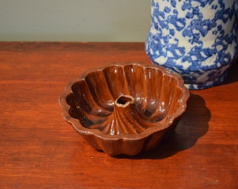 Redware Cake Pan Jello Mold Redware Antique Ceramic Mold Early 1900's  I Ship Internationally