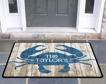 Personalized Rustic Crab Door Mat Beach House Doormat Wedding Gift Ideas  Monogrammed Gifts Personalized Custom Rug