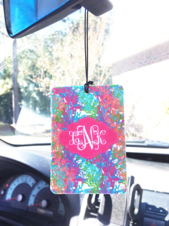 Stocking Stuffers for Girls Colorful Coral Air Freshener Car Monogrammed Auto Air Freshner Personalized Lilly Custom Cute Car Accessories