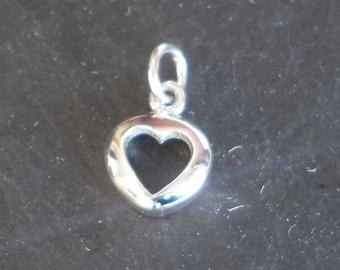 Sterling silver open HEART charm sterling silver heart pendant solid sterling silver 925 heart outline pendant