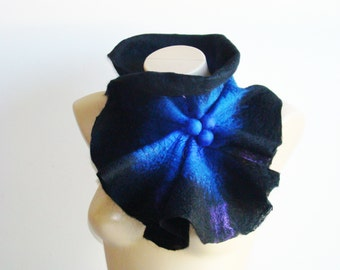 Wool Felted Scarf Collar. Black Blue Fashion Winter Accessories. Black Nuno Felted Shibori Scarf. Trending Holiday Gift for Her