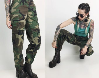 Authentic Military Cargo Pants Size 28 High Waist - Army Camouflage Pants Cargo Pants High Waist Baggy Camo Drab Green Army Pants Small