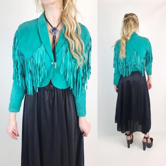 80's Turquoise Soft Suede Fringe Leather Jacket Small - Cropped Fringe Back Long Sleeve Jacket BOHO Hippie - Southwestern Teal Green Fringe